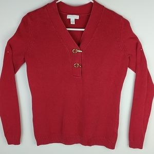 Charter club v-neck sweater. Small. Bright red.